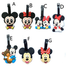 Kawaii Mickey and Minnie Suitcase Luggage Tag Cartoon PVC ID Address Holder Baggage Label Silicone Identifier Travel Accessories(China)