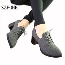 ZZPOHE New spring woman shoes stylish comfortable Ladies high-heeled shoes pointed retro lace wild single shoes women work shoes(China)