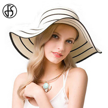 FS Female Women Summer Striped With Rope Sun Hat Black Large Brim Sunhats Beach Hats Chapeau De Paille Femme Orange White