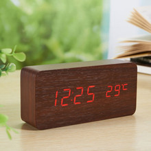 4 color LED Voice Control  Calendar Thermometer Wooden LED Digital Alarm Clock USB/AAA beep Alarm function