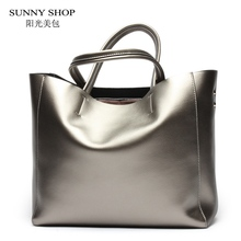SUNNY SHOP American Luxury 100% Genuine Leather Women Shoulder Bag Brand Designer Cowhide Real leather women bag A4 Available(China)
