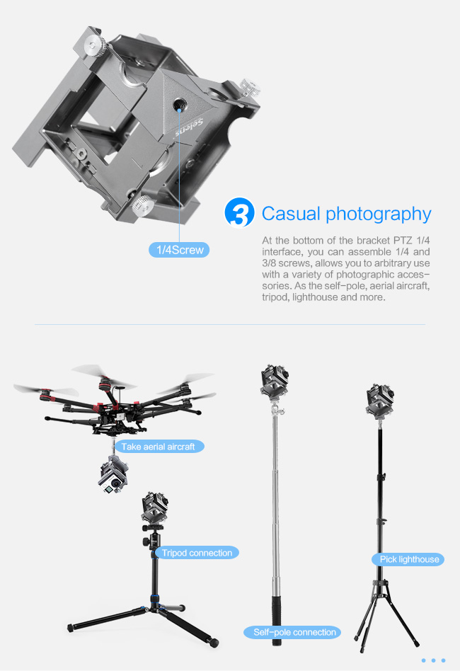 360 Degree Panoramic Aluminium Holder For GoPro Hero 3+4 Sj5000 Xiaomi Yi Spherical Sport Camera Accessories Action Video Mount (13)
