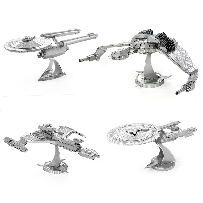 2016 New Star Trek 3D Metal Puzzles Assemble DIY Starship Enterprises 1701 /Bird Of Prey/ Kerrigan No. Model Toys Gift(China)