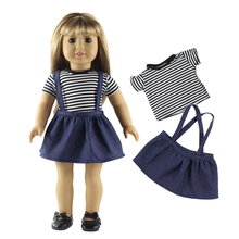 Dolls Accessories Striped T-shirt & Shoulder Strap Mini Skirt Set for 18'' American Girl Our Generation Journey Doll Clothes Toy(China)