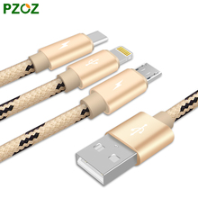 PZOZ Lighting Cable & Micro USB Cable & USB Type C Fast Charger Adapter For i6 iPhone 6 s Plus i5 5 SE ipad Nexus 5X 6P 3 in 1