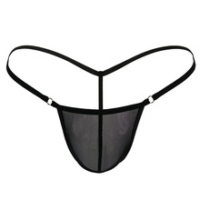 Buy Mens Sexy Thongs Micro Bikini G Strings Tangas Male Penis Pouch Panties T Back Cotton Mesh Transparent Underwear Erotic Lingerie