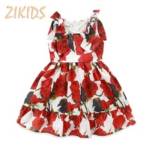 lovely Flower Pattern Sleeveless Summer Dress Girl Red Girls Dress Princess New A-Line Baby Girl Clothes for Party and Wedding