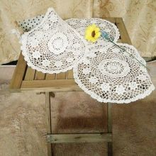 DIY crochet white table cloth towel cover flower doily lace cotton round tea fancy tablecloth Nappe De Table for wedding decor