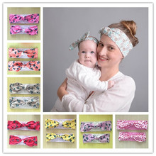 2016 new 5Sets/lot TOP Rabbit Ear Hairband for Mother & kids Parental Butterfly Flower Headbands Bow Knot Head Wraps Accessories