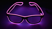 EL glasses EL Wire Fashion Neon LED Light Up Shutter Shaped Glow Rave Costume Party DJ Bright SunGlasses(China)