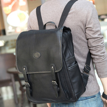 2017 Korean Style Men Backpack Top Quality Leather Double Shoulder Bags School Bag Book Rucksack for male outstoor tote