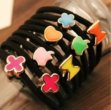 10pcs 55mm Enamel Black Elastic Ponytail Holders Hair Accessories For Girl Women Rubber Bands Tie Gum (Mix Style)