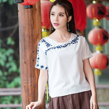 Linen Shirt 2017 Women Female Summer Mexican Style Ethnic Brand O Neck Short Sleeve White t-shirt Surplice Front T Shirt Top