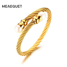 Meaeguet Gold-Color Simulated Pearls Wire Open Bangles Stainless Steel Fashion Cuff Bracelets Jewelry Dia 55MM(China)