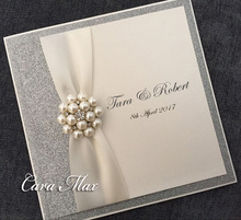 Luxury Silver Wedding Invitations with Antique White Ribbon and Crystal Embellishment