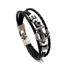 unsex vintage retro all-match New style leather bracelet manufacturers alloy ship anchor Leather Bracelet men hand bracelet