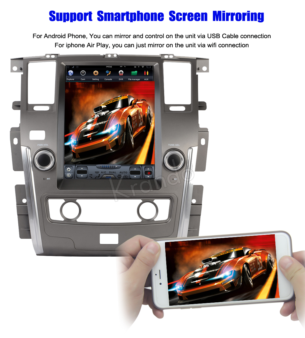 Krando Vertical screen android car radio multimedia for Nissan patrol low version big screen navigation with gps system (7)