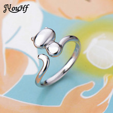 JYouHF Small Cute Womens 925 Sterling Silver Cat Design Rings for Women Girls Jewelry Fashion Smooth Cat Finger Rings for Party