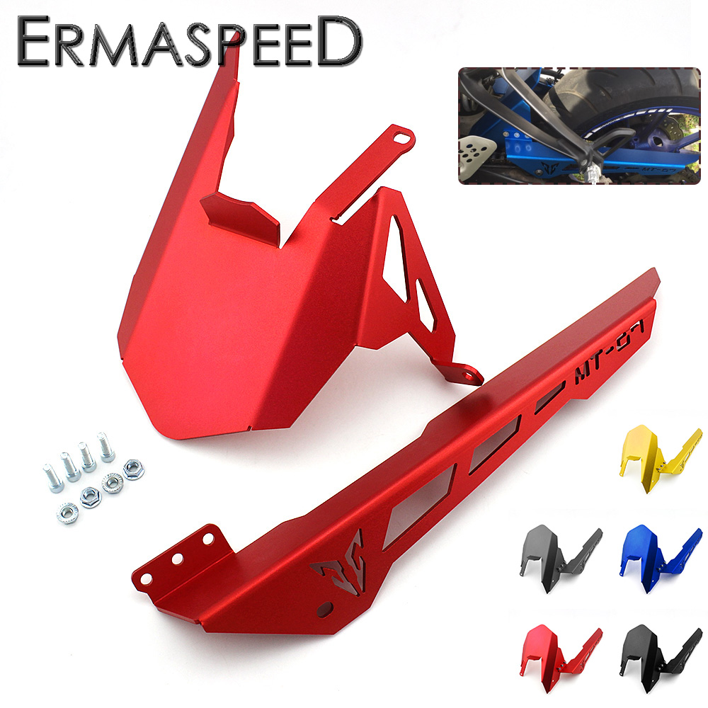 CNC Aluminium Motorcycle Rear Fender Cover Bracket &amp; Chain Cover Rear Guard for YAMAHA mt07 2013-2017 FZ07 2015 2016 2017<br>