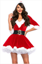 Christmas Women Dress 2017 New Santa Claus Xmas Dress Women Party Dresses Sexy Unique Christmas Costume Winter Dresses With Belt(China)