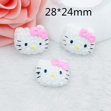Kawaii fairy Home decoration 3D flat back planar resin craft cartoon Hello Kitty Figurine DIY hair Bow jewelry accessories(China)