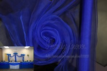 Hot sale! Classic Royal Blue 70cmX26M Organza Sheer Fabric For Wedding Aisle Church Decorations