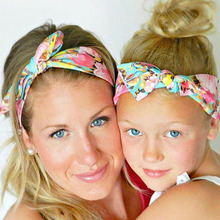 1 set me and Mommy  Flower Print turban headband Top Knotted Headband hair headwrap accessories