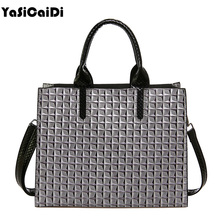 YASICAIDI New Pu Leather Women Handbags Plaid Patent Leather Women Messenger Bags Casual Ladies Tote Bags Black Women Bags Sac(China)