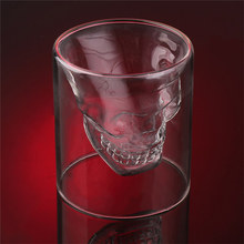 Double Layer Skull Skeleton Whisky Bar Wine Glass Cup Crystal Skull Head Vodka Shot Cocktail Wine Glass Novelty Cups 25/75/150ML