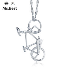 Solid Sterling silver 925 bike pendant necklaces for girls Brand Jewelry Designer Bicycle sports 2017 summer collection