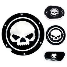 Black Motorcycle Skull Timing Cover Timing Accessories Derby Timer Cover For Harley Davidson Sportster Iron XL 883 1200 04-17(China)