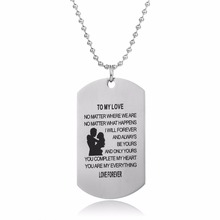 Husband And Wife Love Forever Military Dog Tag Pendant Necklace Lovers Couples Valentine's Day Souvenir Stainless Steel Jewelry(China)