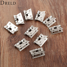 DRELD 10Pcs Stainless Steel Spring Loaded Butt Hinges 4 Holes Cabinet Drawer Jewellery Box Decorative Hinge Furniture Hardware(China)