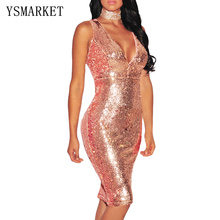 2017 New Rose Gold Sequin Mini Dress Elegant Evening Paillette Robe Sexy Backless Club Vestidos V Neck Women Party Dress E61409