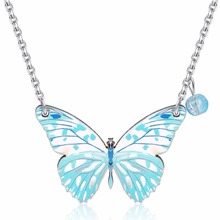 Handmade Women Wood Butterfly Pendant Necklace Girl Child Charms Chain Necklace Jewelry Gift 3601