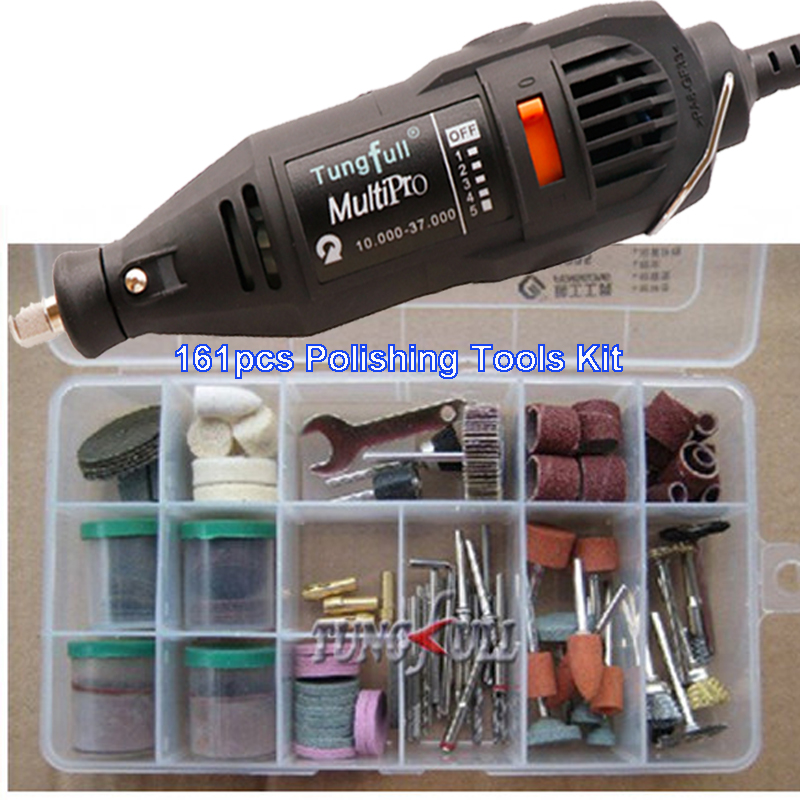 130w Electric grinder 161Pcs Electric Rotary Grinder Polish Sanding Tool Kit DREMEL style ROTARY TOOLS Fast shipping<br>