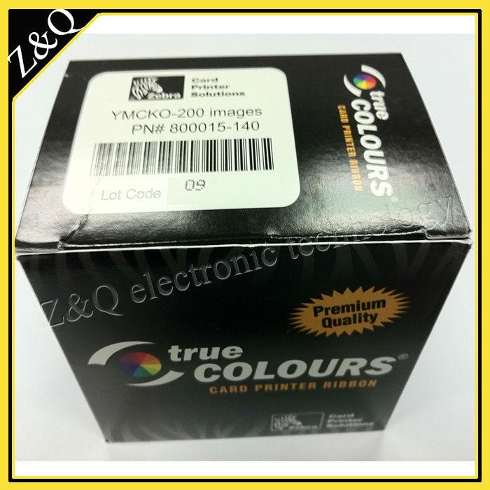 Original Zebra 800015-140 ymcko Color Ribbon for use with P300C, P310C, P400, P420C, P500 id card printers - YMCKO - 200 prints<br>