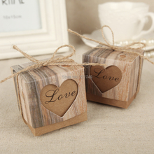 50pcs Wedding Hearts in Love Rustic Kraft Imitation Bark Candy Box with Burlap Chic Vintage Twine Wedding Favor Gift Boxes