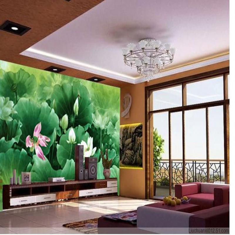 3d stereoscopic Large mural Retro wallpaper TV background living room bedroom lotus painting green leaf papel de parede<br><br>Aliexpress