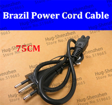 China wholesale 5pcs/lot Brazil 3pin plug with black 3*0.75mm2 75cm cable for laptop