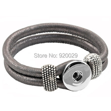 P00001 newest Easy imitation leather rivca Button bracelet cord size 6mm for 18mm button(China)