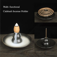 1PC Good quality Multi-functional Calabash Style China Ceramic Incense Burner Cone&Coin Incense Holder for Home Decor&Ornament(China)