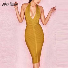 Buy Summer Dresses Bandage 2018 New Arrivals Women Halter Sexy Yellow Bandage Dress Rib Hollow Bodycon Dress Club Party
