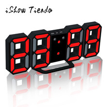 3D LED Wall Clock 3 Color Digital LED Table Night Wall Clock Alarm Watch 24 or 12 Hour Display Home Kitchen Office Acrylic Clock(China)