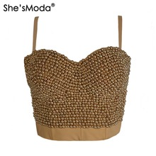 Gold Bead Pearls High-end Hand-made Push Up Bralette Women's Bustier Bra Cropped Top Vest Plus Size