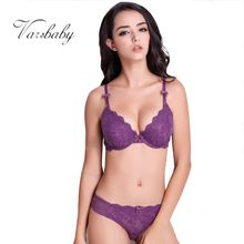 New Europe and America adjustable gather bra sets sexy lace fabric underwear sets A B C Cup