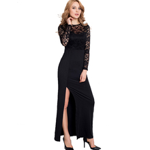 R70196 Ohyeah hot selling black lace women sexy dress big discount long sleeve long summer dress wholesale and retail maxi dress