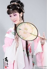 "Chinese Traditional Famous Yue Opera  Dream of Red Mansion Actress ""Lin Daiyu"" Pink Hanfu Maid Costume Opera Sleeve + Hand Veil"