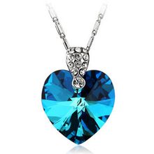 AAA 100% 925 Sterling Silver Pendant Necklace Heart of Ocean Pendant Navy Blue Necklaces Fine Jewelry Christmas Gift(China)