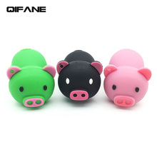 QIFANE Creative U Disk 16G Lovely Pig pen drive 4G 8G Cartoon Pet USB Flash Drive 32GB 64G Silica gel memory stick Free shipping